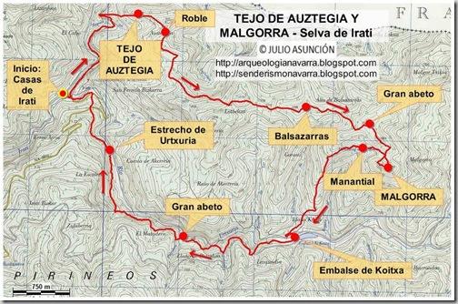 Mapa Selva De Irati.Senderos Y Montanas De Navarra Localizacion Ruta Tejo De