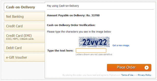 Payment Mode on Flipkart