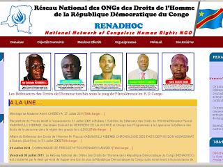 Une capture d'écran du site de RENADHOC.
