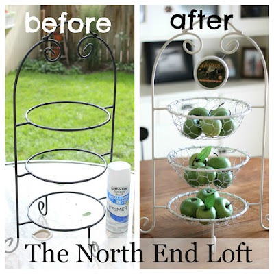 plate stand makeover with chicken wire