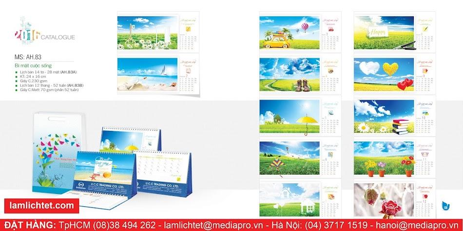 In Lịch Để Bàn Đẹp,TpHCM Hà Nội, Mẫu Lịch Bàn AH83 Bí Mật Cuộc Sống