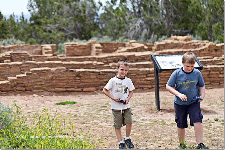 Boys exploring the Far View Mesa ruins