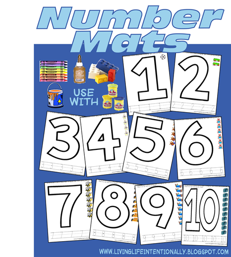 playdough number mats are a free math worksheets for preschoolers