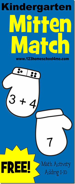 Kindergarten Math Game - Mitten Match is a FREE printable, simple math activity for kids to practice addition using mittens.  Lots of options to this activity.