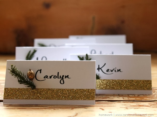 Easy Glitter Tape Place Cards via homework | carolynshomework.com