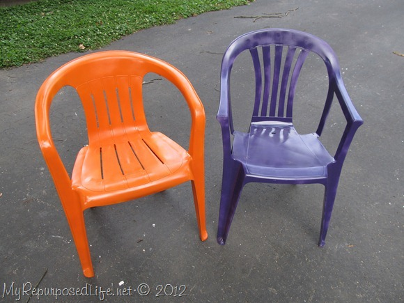 painted plastic patio chair