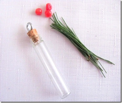 Small vial with pine needles2