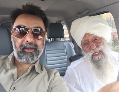 With Khushwant Singh author of my biography Turbaned Tornado In Chandigarh