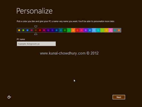 Win 8 Installation Experience - Personalize Color 2