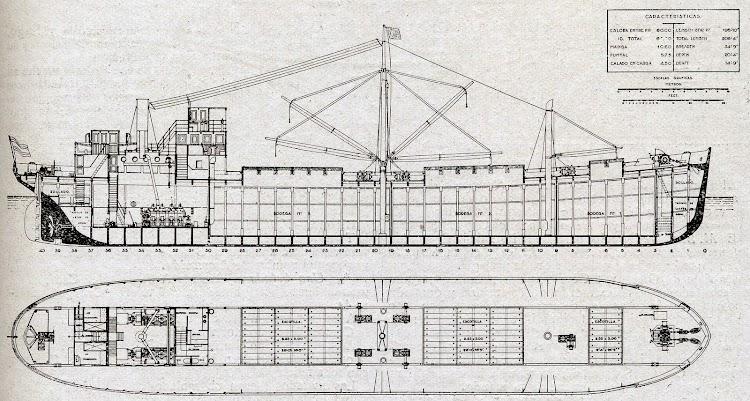 Diagrama de la motonave con casco de cemento de Construcciones y Pavimentos S.A. De la revista La Vida Maritima.jpg