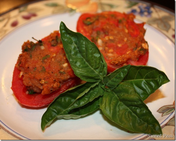 Delicious Stuffed Tomatoes - Use fresh from the garden Roma tomatoes to make this delicious side dish. virginiasweetpea.com #tomatoes #RomaTomatoes #sidedish #stuffedtomatoes
