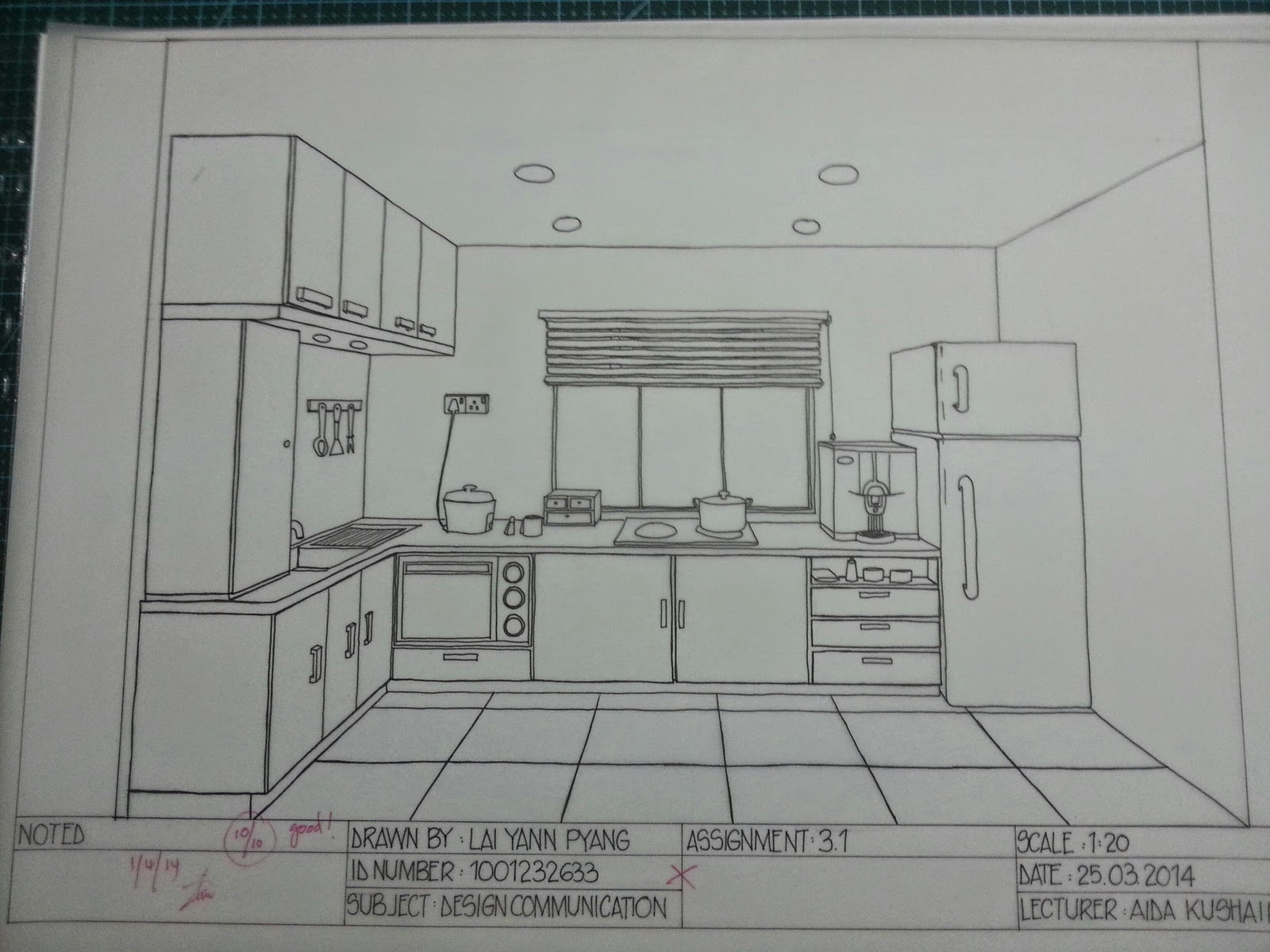 Free hand one point perspective kitchen