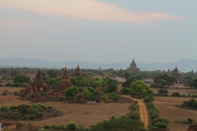 A Bagan Street that passes through innumerable pagodas