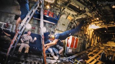 Photograph by Balazs Gardi inside a US Navy Blue Angels C130 Hercules