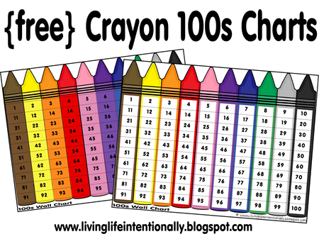 Number Names Worksheets preschool color chart : FREE Hundreds Chart