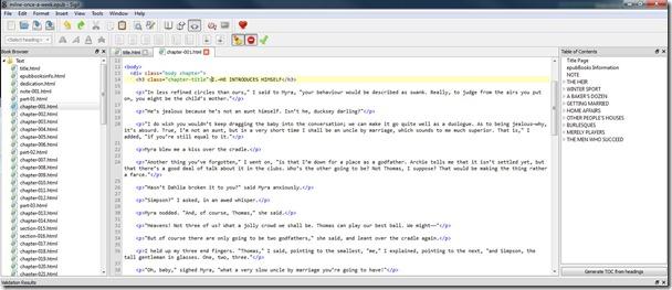Edición del código XHTML de las páginas del ePub con Sigil