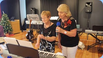 Diane Lyons and Margaret Black dueting to the delight of the audience. Photo courtesy of Dennis Lyons.