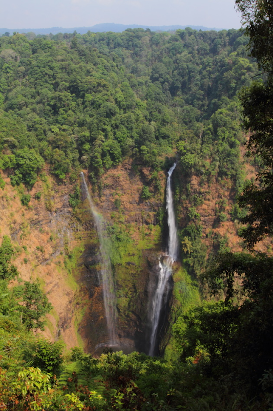 Tall Tad Fane Waterfall surrounded by Green in Laos's Bolavan Plateau