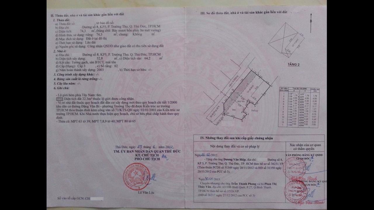 Bán nhà đường số 8 Phường Trường Thọ Quận Thủ Đức, nhà cấp 4, iện tích 74,3 m2. giá bán 3,2 tỷ.2