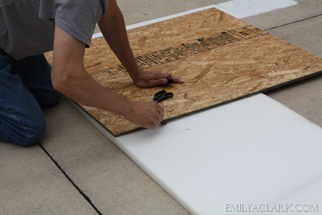 DIY headboard--cutting the foam