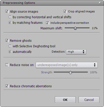Photomatix 4.2 Preprocessing Options