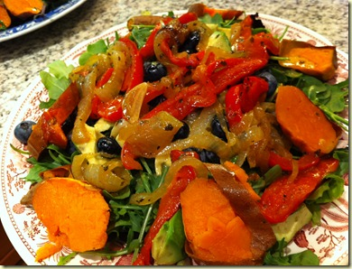 Arugula with roasted veggies