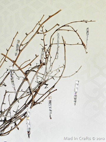 branch with icicle ornaments