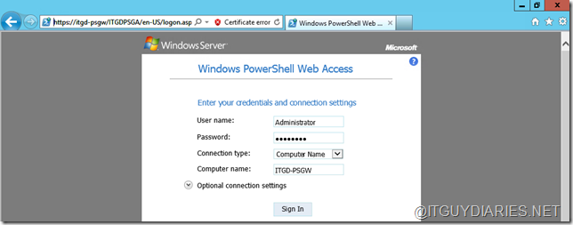 IT Guy Diaries: Windows PowerShell Web Access with Windows Server 2012