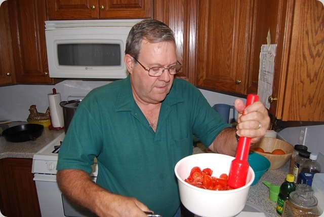 In goes 5 pounds of Tomatoes