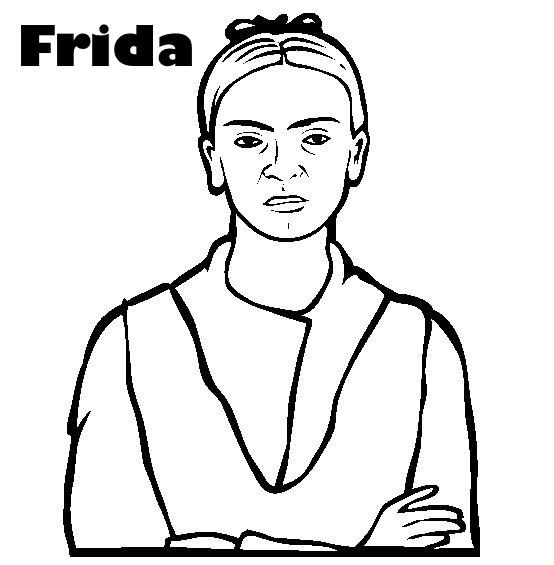 Colorear Dibujo De Frida Kahlo