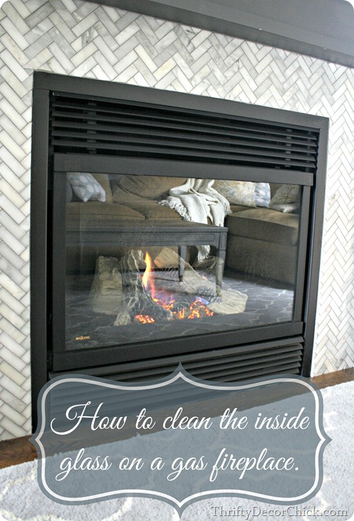 how to clean inside glass on gas fireplace