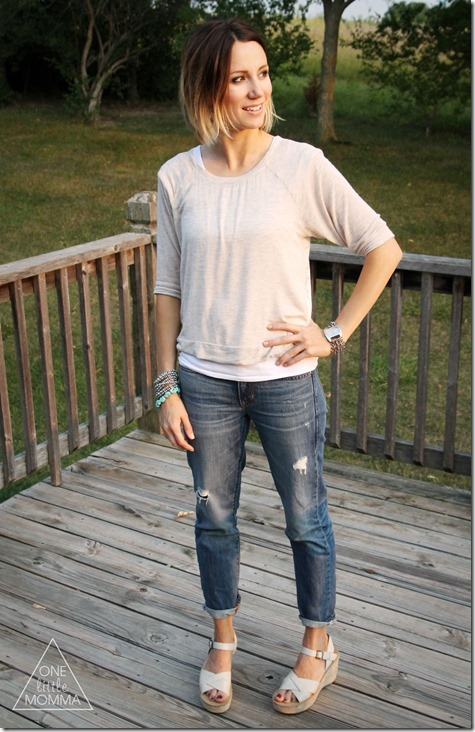 slouchy tee, boyfriend jeans, and platform wedge sandals