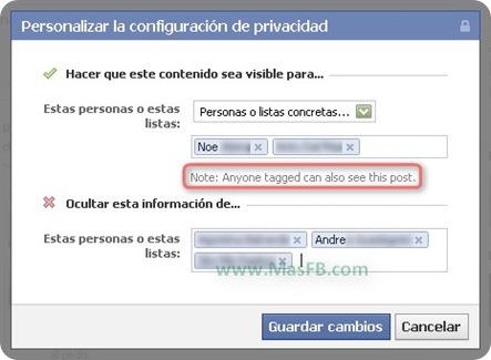 Personalizar publicación del muro de Facebook