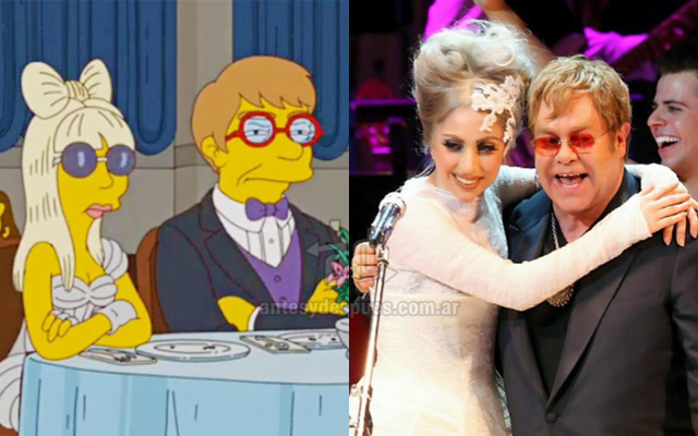 Foto de la version Simpson de Lady Gaga Elton John