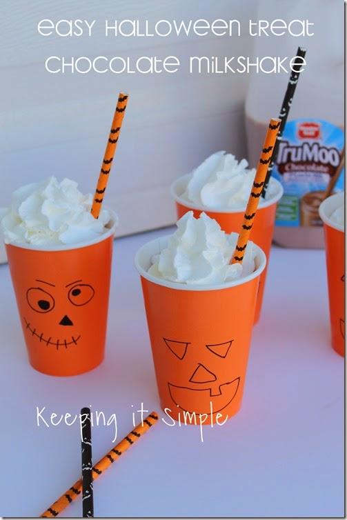 Halloween Pumpkin Cups with Chocolate milkshake #TruMooTreats