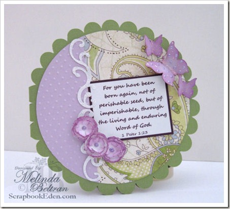 scalloped circle shaped card