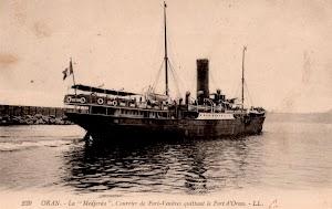 El MEDJERDA saliendo de Oran en uno de sus numeros viajes hasta Port Vendres. Colección del Sr. Jesus Martinez y Curto.jpg