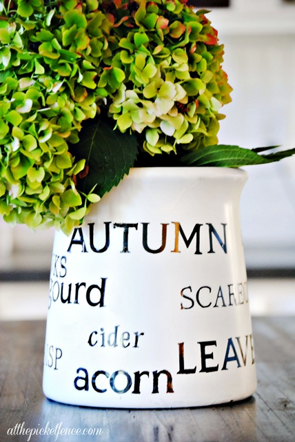 stenciled fall jar