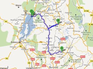 L'électricité proviendrait des barrages de la Ruzizi au Burundi (point A) et passerait par Kigali (B). Le projet actuel relierait Gisenyi au Rwanda (C) et Goma en RDC (D).