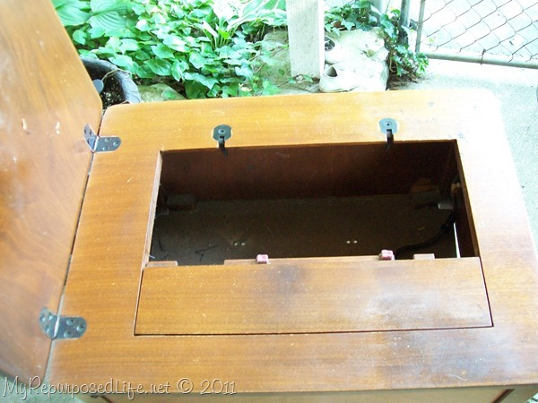 empty sewing machine cabinet