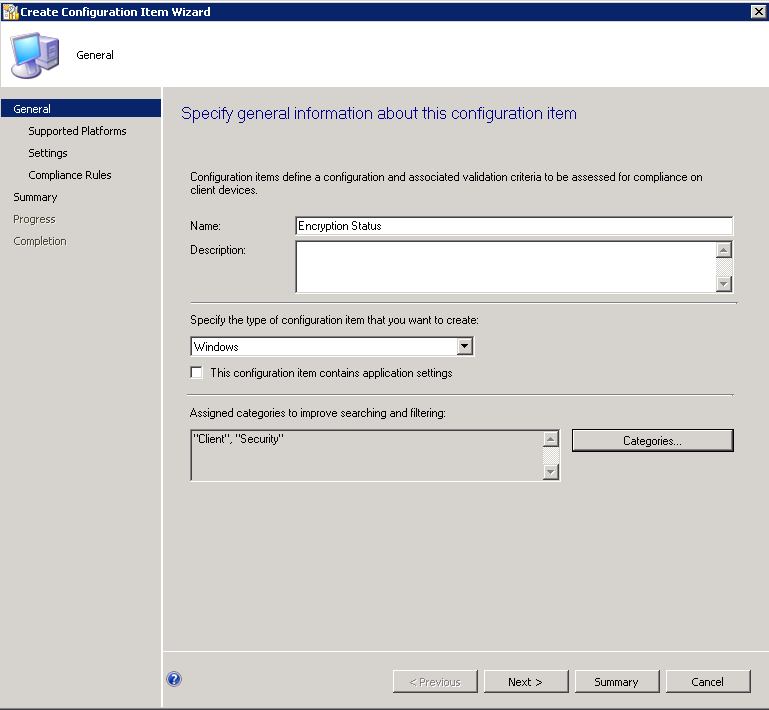 Using DCM in SCCM 2012 to Report on BitLocker Encryption Compliance