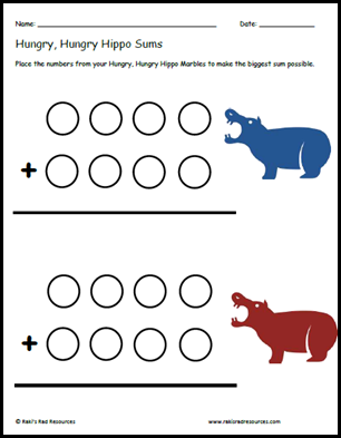 Turn Hungry, Hungry Hippos into a math center by adding numbers to the marbles and using this free, printable sheet from Raki's Rad Resources.