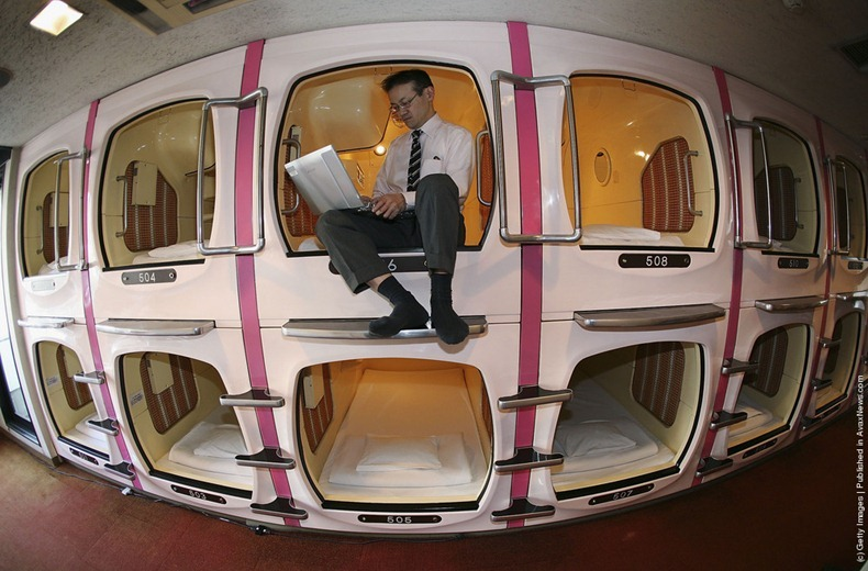 Underemployed Capsule Hotels in Japa...