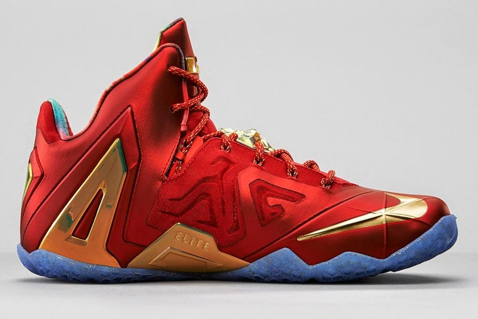 check out 107a4 6e6a8 Release Reminder Nike LeBron 11 Elite SE Red amp Metallic Gold ...