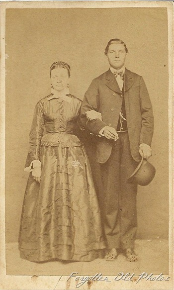 CdV Couple  Brocade Dress Man with hat DL Antiques