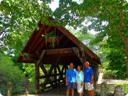 Joe, Jane and Paul at covered bridge