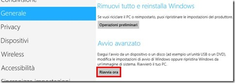 Windows 8 Avvio avanzato