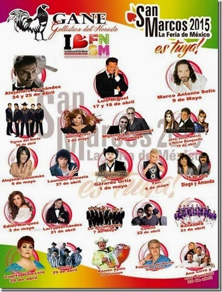 Palenque Feria San Marcos 2015 Cartelera de Artistas