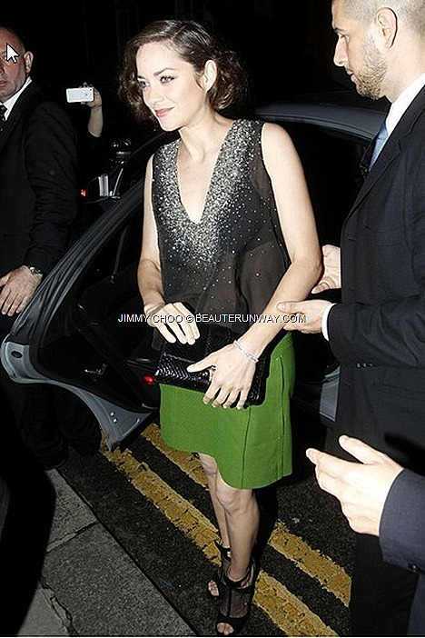Marion Cotillard wore JIMMY CHOO Pre-Fall 2012 2013 Callie Black Peep top mesh tuxedo style sandals bow accented ankle strap The Dark Knight Rises after party The Freemasons's Hall Covent Garden, London shoes bags collection.