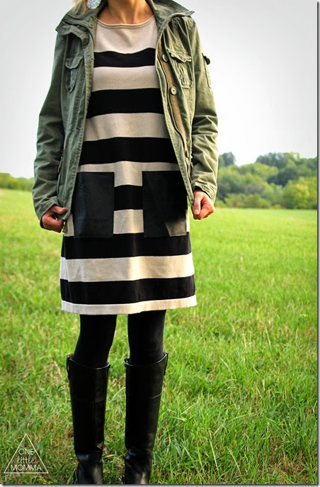Add your own leather pockets to a knit dress for an on trend refashion this Fall!